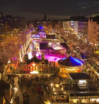 Christmas Market, Travel, Tourism, Christmas Decoration, Celebration, Hut, Shopping, Christmas Tree, Ice-skating, Fun, Market Stall, Illuminated, Multi Colored, Crowded, Famous Place, Retail, Crowd, People, Cologne, Rhineland, Germany, Europe, Night, Winter, Decoration, Market, Christmas, December