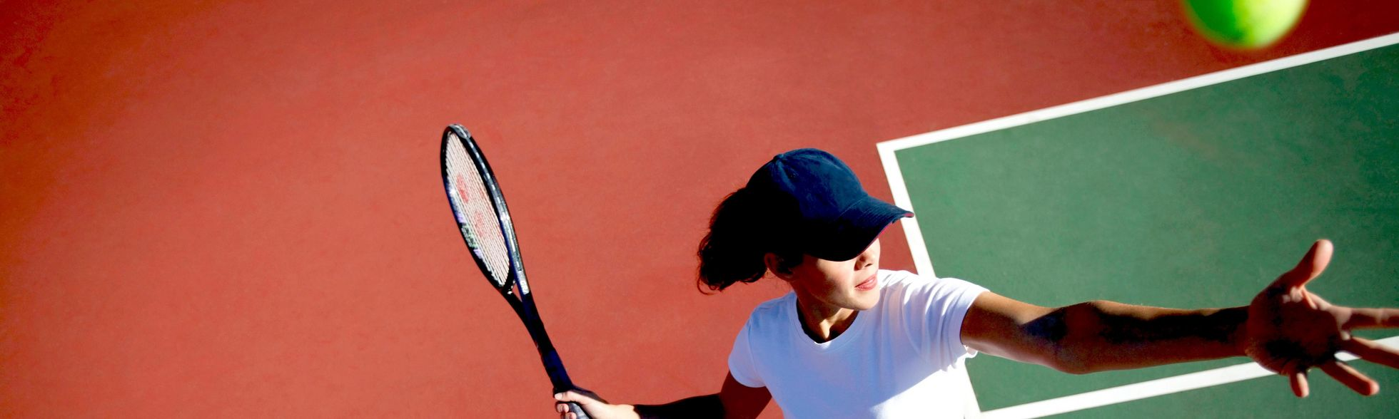 Female, Focus, Exercise, Sport, Match, Challenge, Skill, Game, Hobby, Entertainment, Caucasian, Concentrate, Opportunity, Swing, Smile, Alone, Hat, Player, Determined, Passion, Ball, Pride, Alive, T-Shirt, Accessories, Cap, Kelly, Redinger, Serve, Tennis, Courts, Racket, White, Work, Power, Adult, People, Out, Woman, Service, Perspective