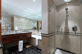 Bathroom Business Class double room  | Lindner Hotel & Residence Main Plaza - Frankfurt