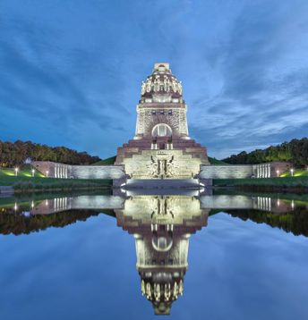 Travel, Tourism, Battle, Memorial, Leipzig, Dusk, Twilight, Symmetry, History, Journey, Ancient, Famous Place, Architecture, Saxony, Germany, Europe, Reflection, Night, Sunset, Cloud - Sky, Sky, Park - Man Made Space, Monument, Built Structure, City, nations, Battle Of The Nations Memorial